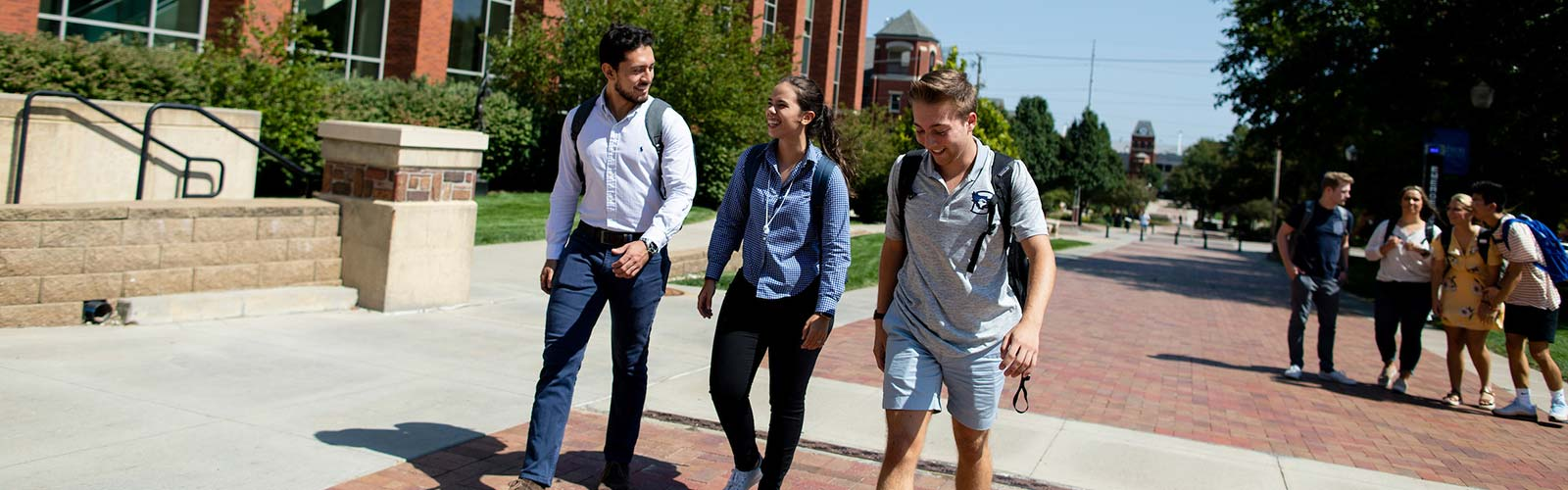 Business students walking