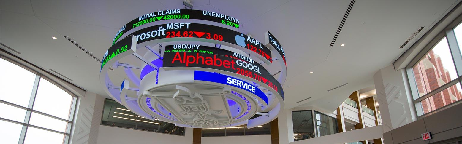 Market Ticker in Heider College of Business Lobby