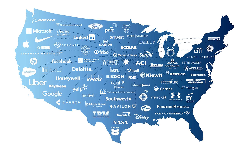 Map of companies employing Creighton graduates
