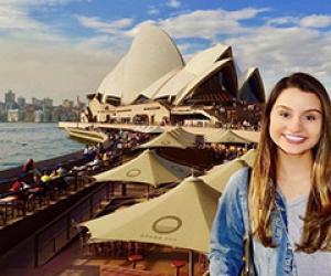 Nadia Syed visiting Australia near the Sydney Opera House